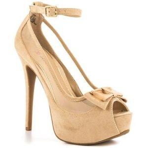 JustFab nude peep toe heels size 8